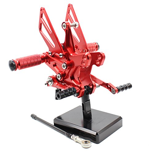 FXCNC Motorcycle Rearsets Rear Foot Pegs CNC Rear set Footrests Fully Adjustable Rear Foot Boards Fit for KAWASAKI ZX10R 2011 2012 2013 2014 2015 2016 Red
