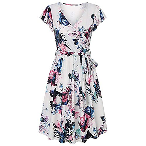 Womens Dress-Han Shi Plus Size Floral Print Butterfly Sleeve Party Sundress with Belt (Multicolor, L)