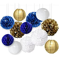 Wcaro White Navy Blue Gold 8inch 10inch Tissue Paper Pom Pom Paper Flowers Paper Honeycomb Paper Lanterns for Navy Blue Themed Party,Party Decoration Bridal Shower Decor Baby Shower Decoration