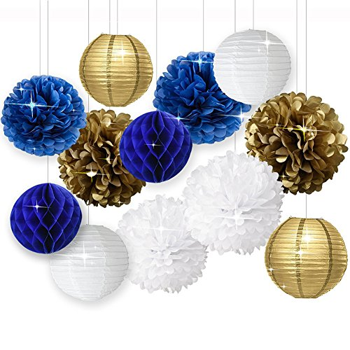 Wcaro White Navy Blue Gold 8inch 10inch Tissue Paper Pom Pom Paper Flowers Paper Honeycomb Paper Lanterns for Navy Blue Themed Party,Party Decoration Bridal Shower Decor Baby Shower Decoration ()
