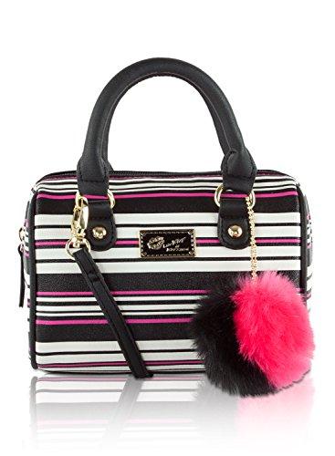 Betsey Johnson Harlie Mini Satchel Crossbody Bag - Pink Black Stripes