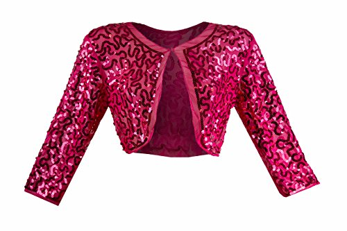 chaleco Jaeckchen Camiseta Nueva Top Transparente Rosa brillo con Dulce Bolero mangas sin brillo elegante wnpqIrYXvp