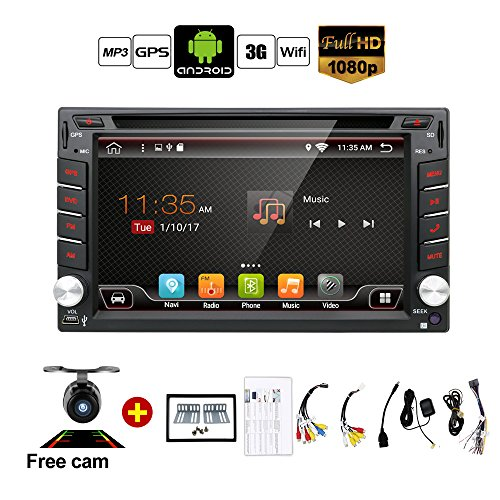 Upgrade Version WIFI Model Qure Core Android 6.0 Double din Car dvd Player Stereo GPS Navigation for Universal car With Free Camera by BOSION Navigation