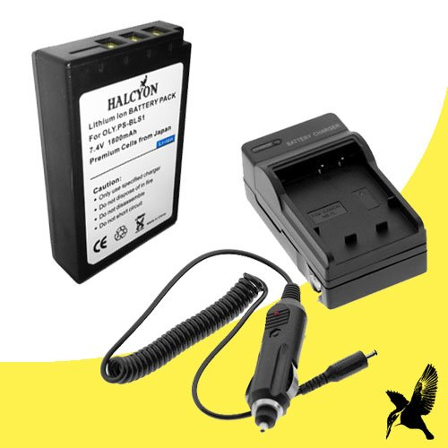Halcyon 1800 mAH Lithium Ion Replacement Battery and Charger Kit for Olympus Pen E-PL3 12.3 MP Digital Camera and olympus BLS-1 ()