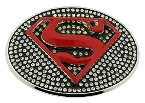 Superman Belt Buckle Comics Rhinestone Red Original Officially Licensed Product (Rhinestone Superman)