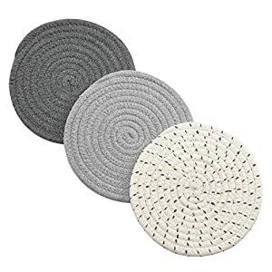 Pot Holders Set Trivets100% Pure Cotton Thread Weave Hot Pot Holders Set (Set of 3) Stylish Coasters, Hot Pads, Hot Mats, Spoon Rest For Cooking and Baking by Diameter 7 Inches