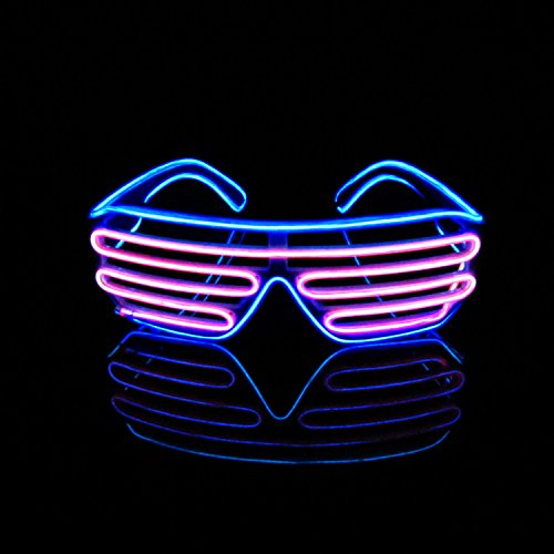 [Aquat Light Up Neon Shutter Glasses LED Electroluminescent EL Wire Costumes Eyeglasses For Party RB03 (Blue +] (Funny Costumes)