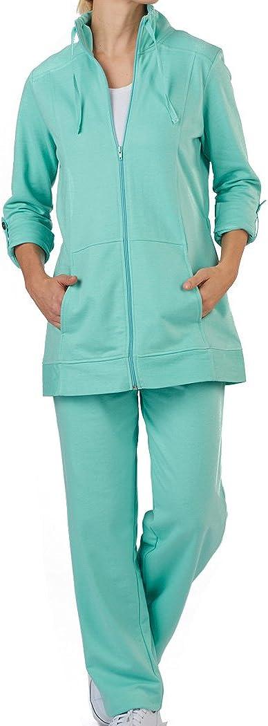 AmeriMark Womens Two Piece Pant Set Anorak Zip Jacket Elastic Waist Sweat Pants