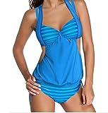 YeeATZ 2pcs Solid Splice Striped Halter Tankini Swimsuit(Blue,S)