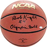 NCAA Indiana Hoosiers Bob Knight Autographed Basketball with ''1984 Olympic Gold'' Inscription, Brown
