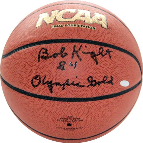 NCAA Indiana Hoosiers Bob Knight Autographed Basketball with ''1984 Olympic Gold'' Inscription, Brown by Steiner Sports