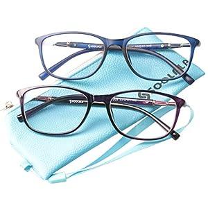 SOOLALA 2 Pairs Lightweight TR90 Full Frame Oversized Clear Lens Eyeglasses Reading Glasses, BluePur, 1.5
