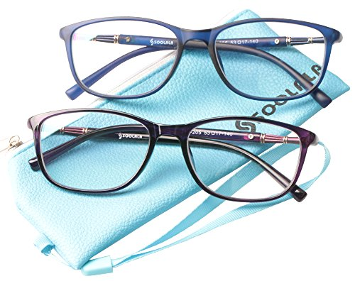 SOOLALA 2 Pairs Lightweight TR90 Full Frame Oversized Clear Lens Eyeglasses Reading Glasses, BluePur, 2.5