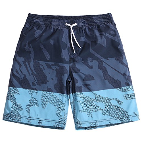 SULANG Men's Lightweight Quick Dry Blue Camouflage Graphic Board Shorts X-Large - Outlet Swim Canada