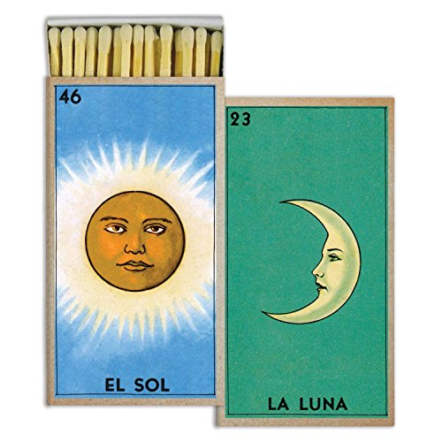 (HomArt Large Decorative El Sol y La Luna Candle and Fireplace Wood Matches)