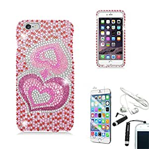 [STOP&ACCESSORIZE] PINK GROOVY HEARTS 2 PIECE COVER RHINESTONE PLASTIC CASE for APPLE IPHONE 6 PLUS + FREE ACCESSORIES