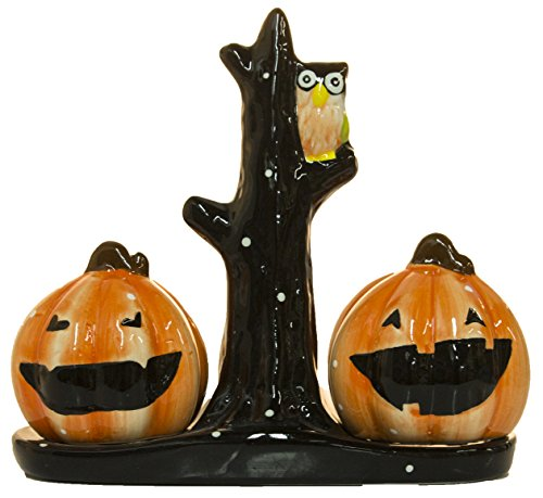 Midwest CBK Jack-O-Lanterns and Owl In Tree Salt & Pepper Shaker 3 pc Set