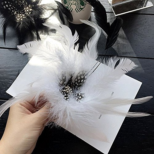 (Korean presided over large flowers black feather corsage brooch stage exaggerated shoulder suit with head flower jewelry for men women)