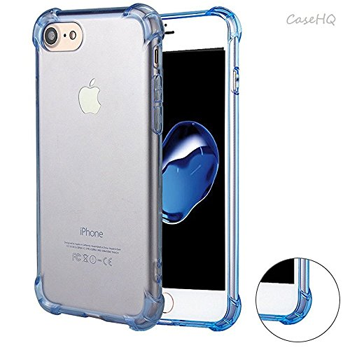 iPhone6 Case iPhone6S Case CaseHQ Silicone Flexible TPU High Impact Defender Case Combo Hard Soft Heavy Duty Shell Soft Rubber Inner Skin Shock Absorption Flexible Protective Colorful Shell(Blue)