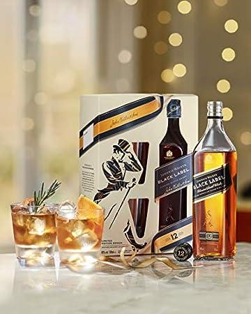 JOHNNIE WALKER pack whisky black label botella 70 cl + 2 vasos