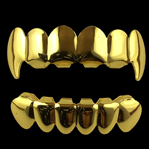 24K Gold Plated Grillz Top & Bottom Fangs + 2 Extra ...