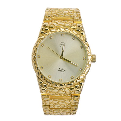 Techno Pave Hip Hop Plain Nugget 14K Gold Metal Band Watches WM 8364 G