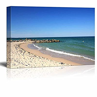 Canvas Prints Wall Art - Calm Beach on a Warm Sunny Day | Modern Home Deoration/Wall Art Giclee Printing Wrapped Canvas Art Ready to Hang - 32