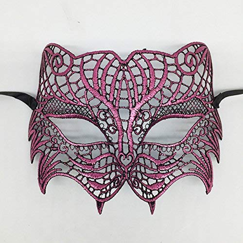 ArMordy(TM) Mysterious Angel Creative New Colors Halloween Masquerade Sexy Lady Lace Mask Hollow Out Catwoman Happy Gifts Tiger[ Plum ] (Anonymous Paintball Mask)