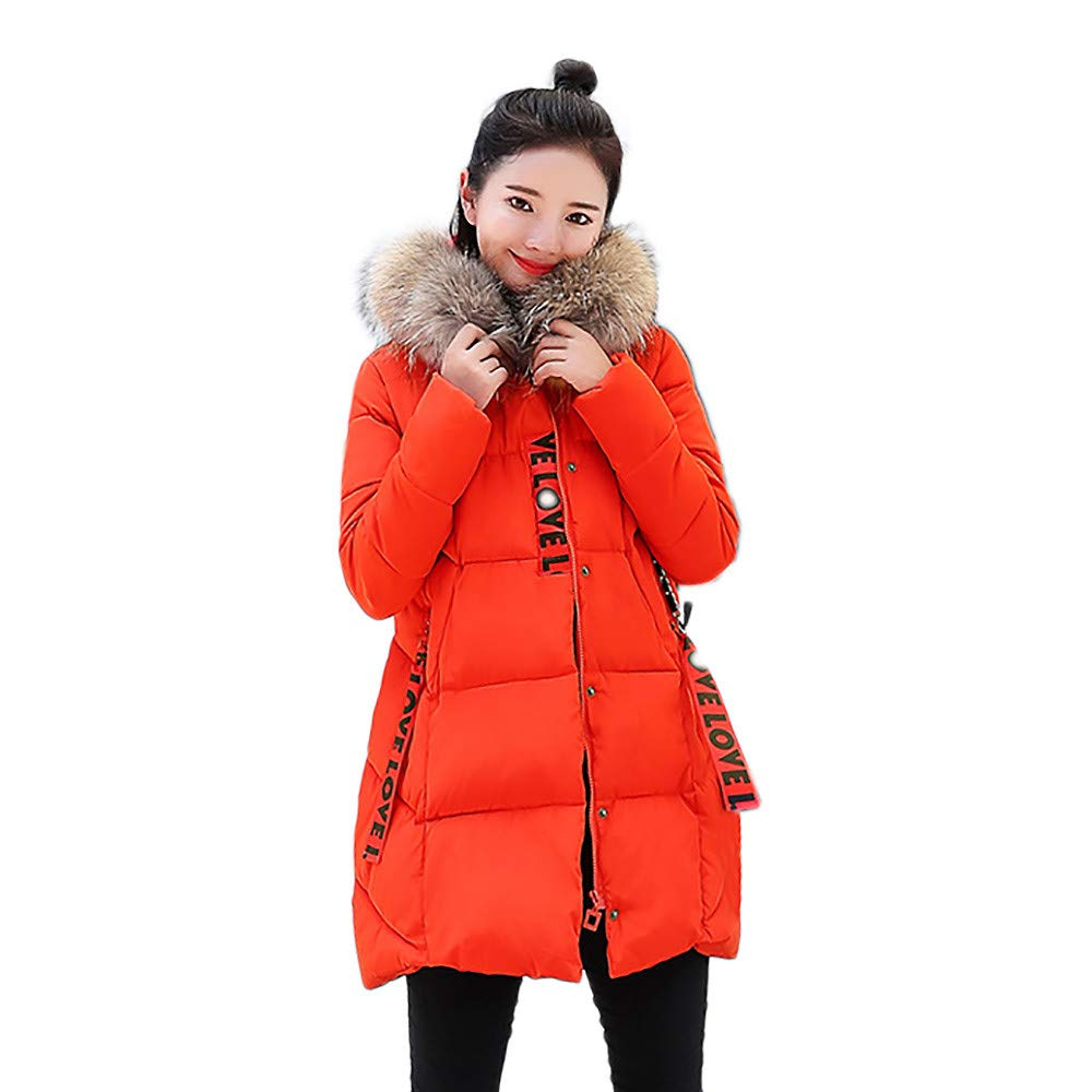 Dacawin Women Winter Windproof Warm Long Thicker Fur Collar Cotton Slim Parka Hooded Outwear by Dacawin