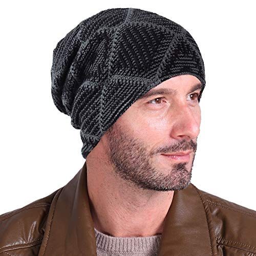 Luffy Beanie for Men and Women - Winter Trendy Thick Knit Check Skull Cap with Fleece Lined-Soft Slouchy Stretch Wool hat