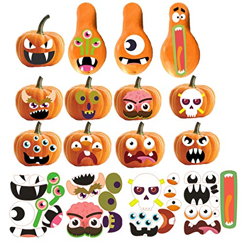 Halloween Painting Pumpkins Ideas (Pumpkin Decorating Kits Halloween Stickers Pumpkin Stickers Pumpkin Face Craft Decoration DIY Stickers Kits 12 Designs 36)