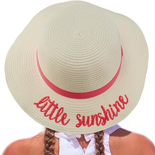C.C Girls Kids Wording Sayings Summer Beach Pool Floppy Dress Sun Adjustable Hat Little Sunshine, White