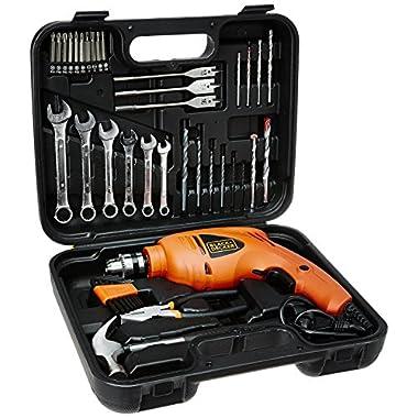 BLACK+DECKER HD455KA 10mm 550 Watt Impact Drill Kit, Engineered Plastic (Orange, 41-Pieces) 8