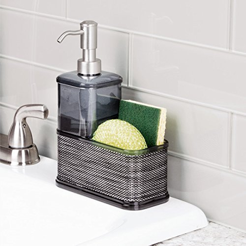 mDesign Soap Dispenser Pump with Sponge and Scrubber Caddy Organizer for Kitchen Countertops - Smoke/Black