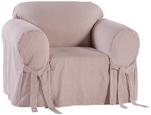 (Classic Slipcovers BT30RASTRD One Piece Stripe Twill Chair Slipcover, Red/White)
