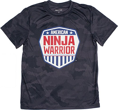 American Ninja Warrior Kids Camo Short Sleeve Performance T-Shirt (X-Small, Grey)