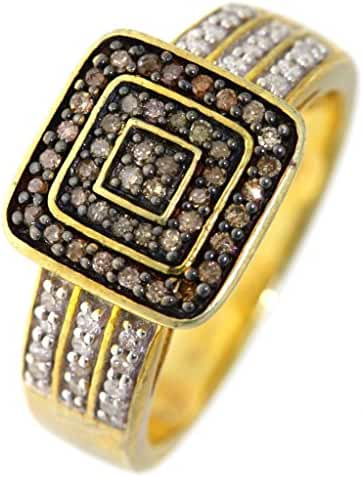 Women's 0.50 CTW Champagne & White Micro Pave Yellow Gold-Plated Sterling Silver Ring