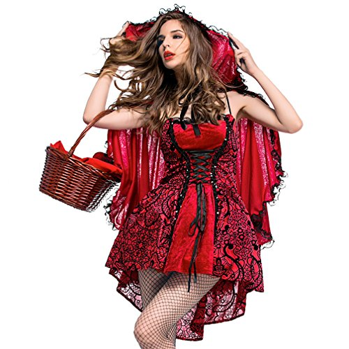 Boleyn Little Red Riding Hood Costume Sexy Halloween Fairy Tale Dress for Women (Large)