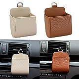 Car Universal Fit Air Vent Pocket Phone Holder Pocket Pouch Bag Box BROWN/BEIGE 2 PCS