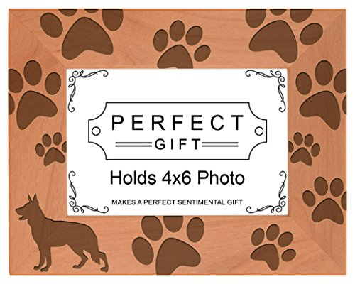 Gifts For All By Rachel Olevia Dog Lover Gift German Shepherd Paw Prints Natural Wood Engraved 4x6 Landscape Picture Frame Wood]()