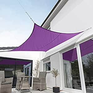 Kookaburra 5.4m Square Purple Woven Sail Shade (Waterproof) Gazebo Sail Awning Canopy