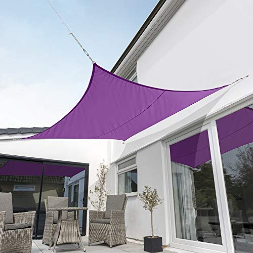 Kookaburra Waterproof Purple Sun Shade Sail Garden Patio Gazebo Awning Canopy 98 UV Block with Free Rope 17ft 9 Square
