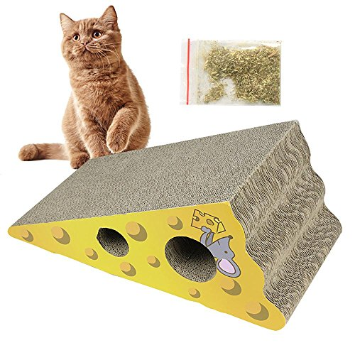 Aolvo Incline Cat Scratcher Cardboard Cheese Shaped with Catnip, Natural Cat Scratching Mat Pad Cardboard, More Ergonomic, Help to Relieve Anxiety, 1 Pack Catnip Included, Cutouts to Hide Toys ()