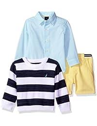 Nautica Baby Boys' 3 Piece Printed Sweater Set