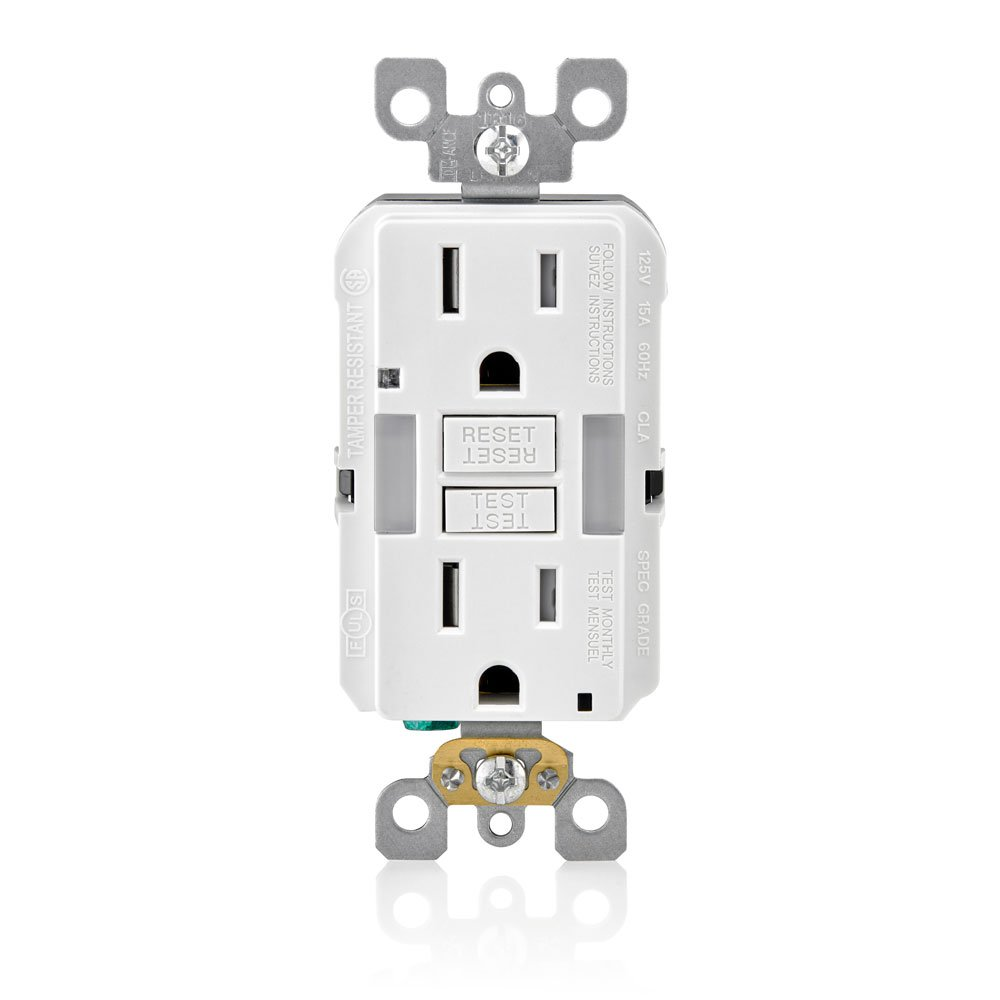 Leviton GFNL1-W R02-Gfnl1-00W Self-Test Tamper Duplex Gfci Receptacle With Guide Light, 125 V, 15 A A, Amp, White
