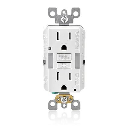 leviton gfnl1 w r02 gfnl1 00w self test tamper duplex gfci receptacle with guide light, 125 v, 15 aa, amp, white