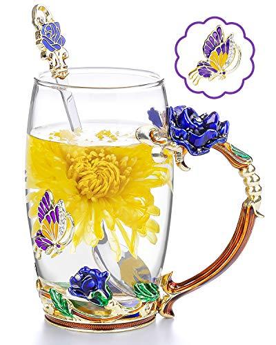 COAWG Taza de Te Vaso de Flores de Vidrio Taza de Te Cafe Maestro Amigo Cumpleanos Regalo de San Valentin para Mujeres y Hombres (Azul con cucharilla)-1Pc