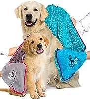 Dolphin & Dog - TWIN PACK - Dog Towel - Super Absorbent dog towel - Dog Microfiber Towel, - with Hand Pockets - dog bath...