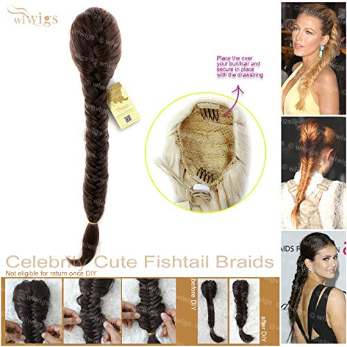 Wiwigs Celebrity Cute Medium Brown Auburn Mix Fishtail Braids clip in Ponytail Plaited Hair Extensions DIY ()