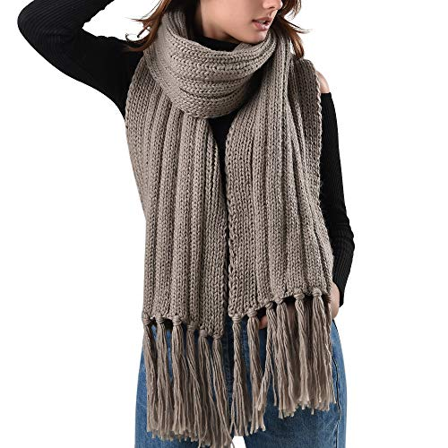 FURTALK Mens Winter Knitted Scarf Oversized Long Crochet Super Soft Warm Scarfs With Tassels (Khaki) ()